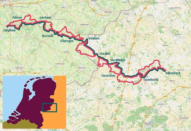 kaart met fietsroute